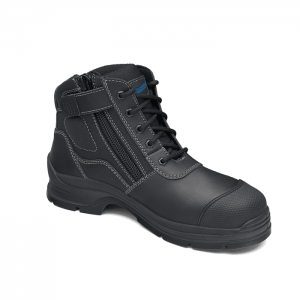 Blundstone 319 Lace up with Zip & Scuff Cap Safety Boot Black