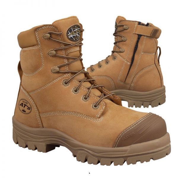 Oliver 150mm Zip Sided Safety Boot Wheat 45-632Z (MenBoots)
