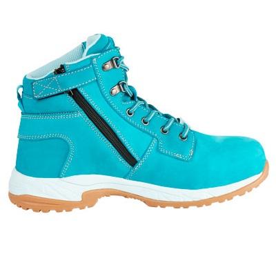 Kingee Ladies Tradie Zip Teal Safety Cheap Work Boots K27370 B