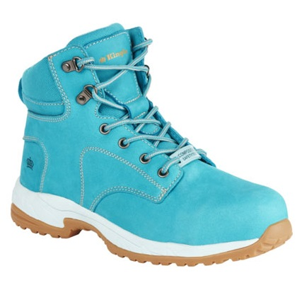 Kingee Ladies Tradie Zip Teal Safety Cheap Work Boots K27370 A