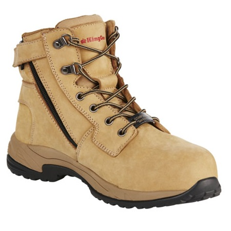 Kingee Ladies Tradie Zip Wheat Safety Cheap Work Boots K27370 F