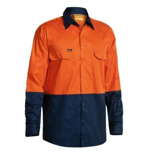 Bisley BS6895 2-Tone Hi-Vis Cool Lightweight Drill L/Sleeve Shirt