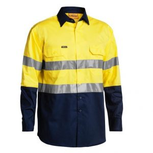 Bisley BS6896 3M Taped 2-Tone Hi-Vis Cool Lightweight L/Sleeve Mens Shirt