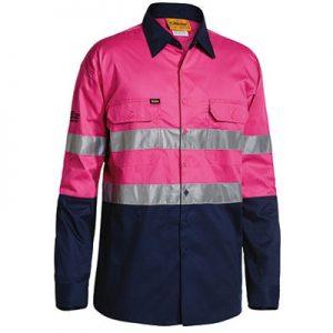 Bisley BS6896 3M Taped 2-Tone Hi-Vis Cool Lightweight L/Sleeve Pink/Navy Mens Shirtcheap work boots bisley BS6896_Pink Navy