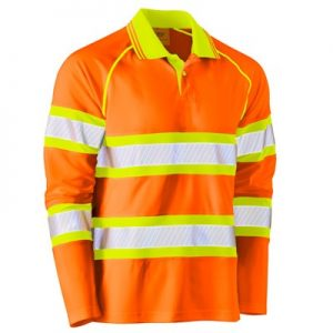 Bisley BK6223T Taped Double Hi-Vis Mesh L/Sleeve Polo