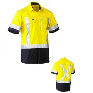 Bisley BS1177XT Flex & Move Two Tone Hi Vis Stretch Utility Shirt S/Sleeve