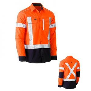 Bisley BS6177XT Flex & Move Two Tone Hi Vis Stretch Utility Shirt L/Sleeve