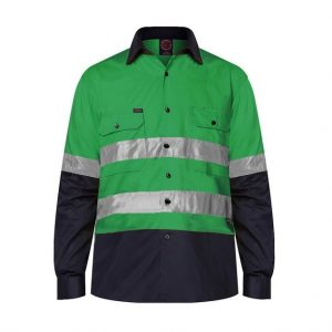 Ritemate RM1050R 2 Tone Open Front Shirt L/Sleeve with 3M Tape