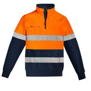 ZT150 Mens Orange Flame HRC 2 Hoop Taped 1/4 Zip Brushed Fleece