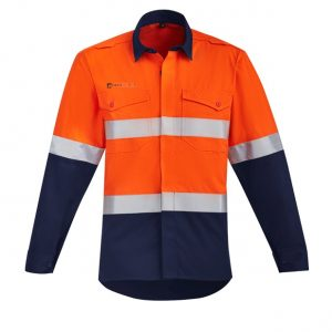ZW140 Mens Orange Flame HRC 2 Hoop Taped Open Front Spliced Shirt