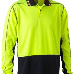 Bisley BK6219 Two Tone Hi Vis Polyester Mesh Long Sleeve Polo Shirt