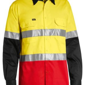 Bisley BS6697T 3 Tone Hi Vis Cool Lightweight Long Sleeve Shirt