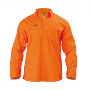 Bisley BS6894 Mens Cool Lightweight Gusset Cuff Hi Vis Drill Shirt