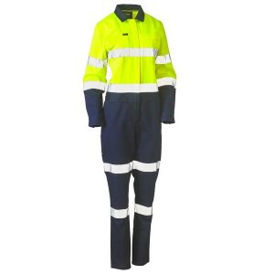 Bisley BCL6066T WOMENS TAPED HI VIS COTTON DRILL COVERALL