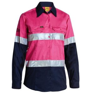 Bisley BL6896 Women's Taped Hi Vis Cool Lightweight L/S Drill Shirt