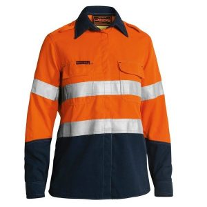 Bisley BL8082T WOMENS TENCATE TECASAFE® PLUS 700 TAPED TWO TONE HI VIS FR VENTED LONG SLEEVE SHIRT