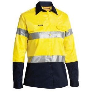 Bisley BLT6456 Women's Taped Hi Vis L/S Drill Shirt