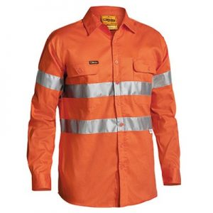 Bisley BT6482 HI VIS 3M REFLECTIVE TAPE MENS DRILL LONG SLEEVE SHIRT