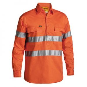 Bisley BTC6482 HI VIS 3M REFLECTIVE TAPE CLOSED FRONT MENS DRILL LONG SLEEVE SHIRT