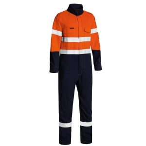 Bisley BC8186T TENCATE TECASAFE® PLUS 580 TAPED TWO TONE HI VIS LIGHTWEIGHT FR NON VENTED ENGINEERED COVERALL
