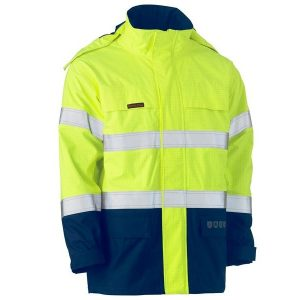Bisley BJ8110T TAPED TWO TONE HI VIS FR WET WEATHER SHELL JACKET