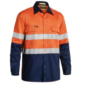 Bisley BS6448T 3M Taped 2 Tone Hi Vis Mens Industrial Cool Vent Shirt