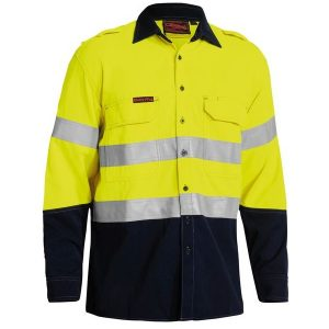 Bisley BS8082T TENCATE TECASAFE® PLUS 700 TAPED TWO TONE HI VIS FR VENTED LONG SLEEVE SHIRT
