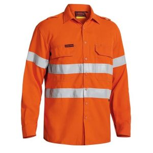 Bisley BS8097T TENCATE TECASAFE® PLUS 580 TAPED HI VIS LIGHTWEIGHT FR VENTED LONG SLEEVE SHIRT