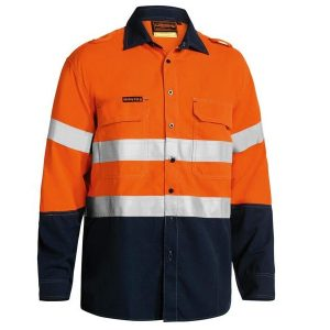 Bisley BS8098T TENCATE TECASAFE® PLUS 580 TAPED TWO TONE HI VIS LIGHTWEIGHT FR VENTED LONG SLEEVE SHIRT