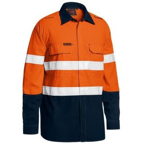Bisley BS8237T TENCATE TECASAFE® PLUS 480 TAPED TWO TONE HI VIS LIGHTWEIGHT FR VENTED SHIRT - LONG SLEEVE