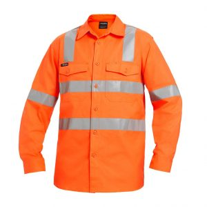 KING GEE K54895 WORKCOOL 2 HI VIS X TAPE CONFIG L/S SHIRT
