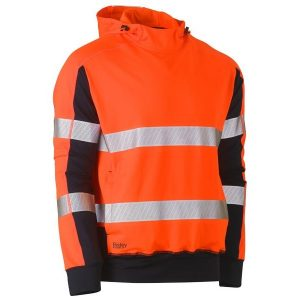 BISLEY BK6815T TAPED TWO TONE HI VIS CONTRAST 4 WAY STRETCHY HOODIE