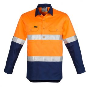 Syzmik ZW550 Mens Hi Vis Closed Front L/S Shirt- Hoop Taped