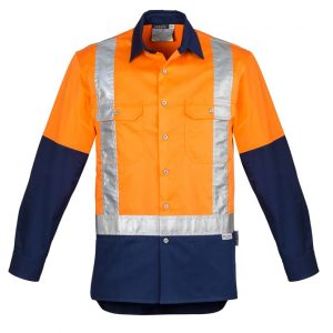 Syzmik ZW124 Mens Hi Vis Spliced Industrial L/S Shirt- Shoulder Taped
