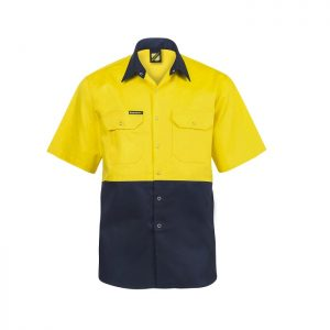 Workcraft WS3063 Hi Vis Two Tone Short Sleeve Cotton Drill Shirt
