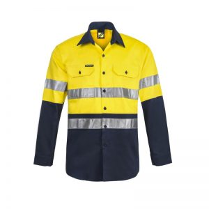 Workcraft WS3028 Hi Vis Two Tone Long Sleeve Cotton Drill Shirt