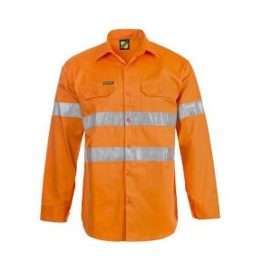 Workcraft WS4002 Hi Vis L/S Cotton Drill Shirt with CSR Reflective Tape