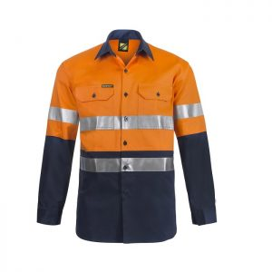 Workcraft WS4000 Hi Vis Two Tone L/S Cotton Drill Shirt with CSR Reflective Tape