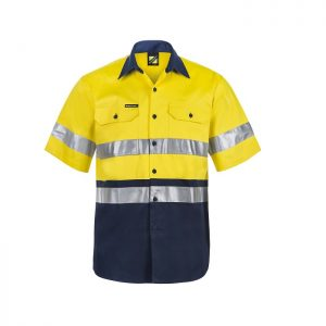 Workcraft WS4001 Hi Vis Two Tone S/S Cotton Drill Shirt with CSR Reflective Tape