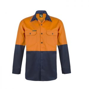 Workcraft WS3022 Hi Vis Two Tone L/S Cotton Drill Shirt