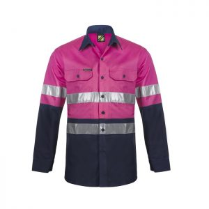 Workcraft WS4132 Lightweight Two Tone L/S Vented Cotton Drill Shirt - Night Use Only