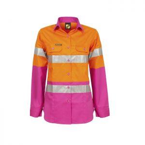 Workcraft WSL501 Ladies H-Vis 2 tone L/S Shirt