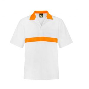 Workcraft WS3007 Food Industry Jac Shirt with Contrast Collar - S/S