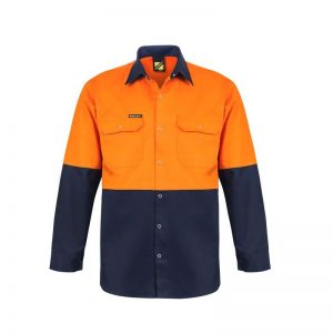 Workcraft WS3032 Hi Vis Two Tone L/S Cotton Drill Shirt with Press Studs
