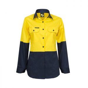 Workcraft WSL502 Ladies Lightweight Hi Vis Two Tone L/S Cotton Drill Shirt