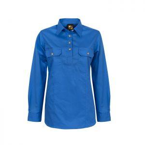 Workcraft WSL505 Ladies Lightweight Long Sleeve Half Placket Cotton Drill Shirt