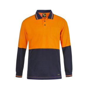 Workcraft WSP402 Hi Vis Two Tone L/S Cotton Back Polo with Pocket