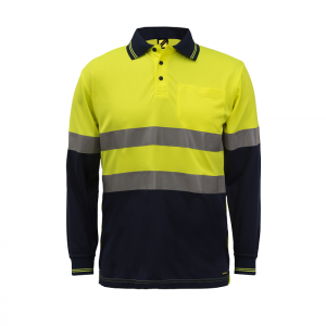 Workcraft WSP409 Hi Vis Two Tone L/S Micromesh Polo with Pocket