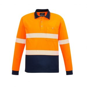 Syzmik ZH530 Unisex Hi Vis Segmented L/S Polo - Hoop-Taped