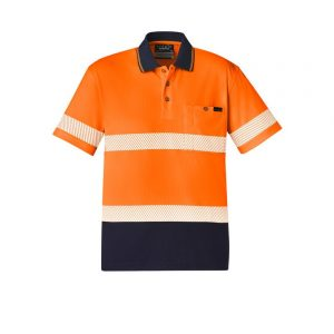 Syzmik ZH535 Unisex Hi Vis Segmented S/S Polo - Hoop Taped